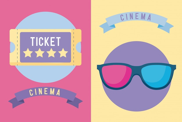 Ticket cinema with glasses 3d