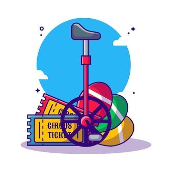 Ticket, circus bicycle and juggling circus   cartoon illustration