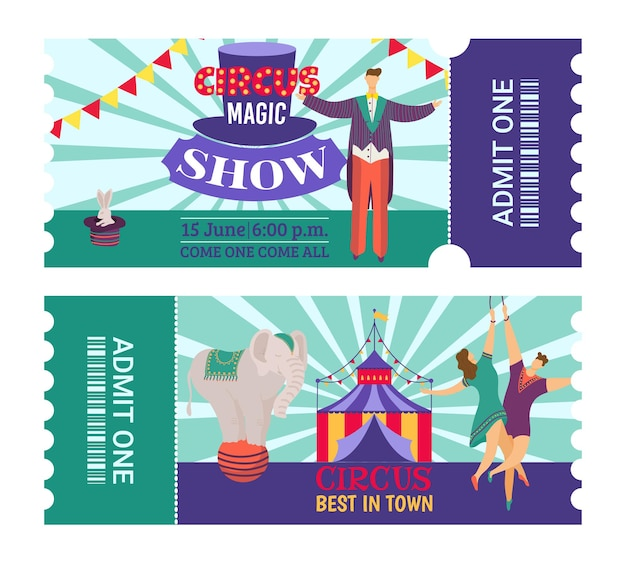 Ticket to circus show, entertainment concept, vector illustration. vintage graphic design with carnival tent, retro invitation with man woman acrobats character. fun amusement event at card set.