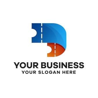 Билет красочный градиент дизайн логотипа