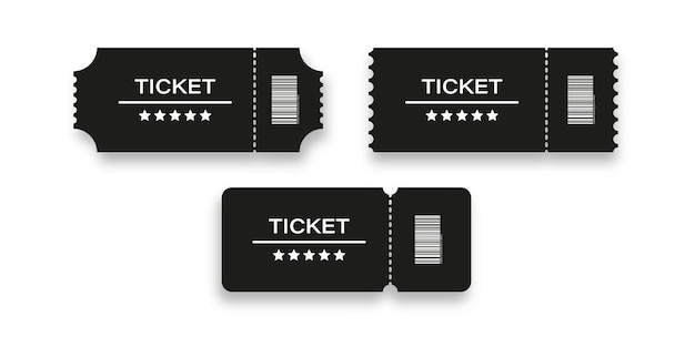 Ticket coupon vector event show invitation design, admit badge for cinema or concert with five stars isolated mock up illustration.