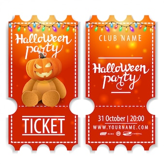 Ticket for halloween party, beautiful design with teddy bear with jack pumpkin head