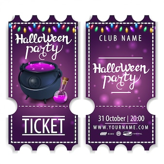 Ticket for halloween party, beautiful design with witch's pot with potion