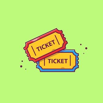 Ticket   icon illustration. movie cinema icon concept isolated   . flat cartoon style