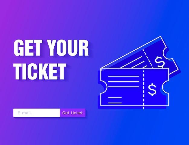 モダンなグラデーションの背景に分離されたフラットスタイルのチケットアイコンベクトルイラスト。オンラインでチケットを入手してください。