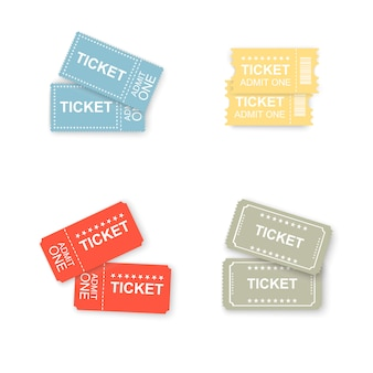 Ticket icons isolated. tickets for cinema, plane, theater, cinema