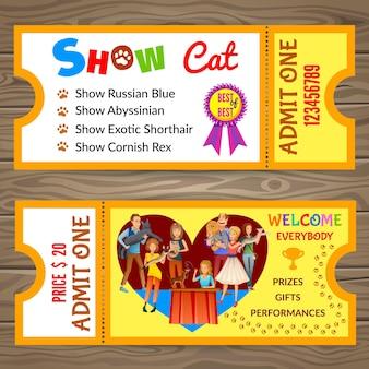 Invito al biglietto per lo spettacolo di gatti.