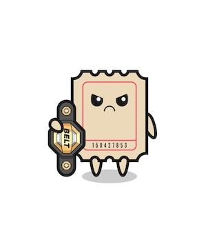 챔피언 벨트가 있는 mma 전투기로서의 티켓 마스코트 캐릭터, 티셔츠, 스티커, 로고 요소를 위한 귀여운 스타일 디자인