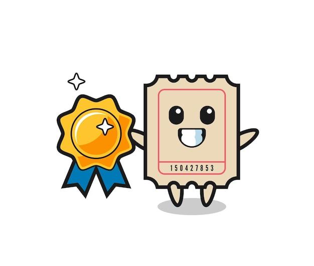 황금 배지를 들고 있는 티켓 마스코트 그림, 티셔츠, 스티커, 로고 요소를 위한 귀여운 스타일 디자인