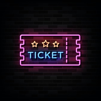 Ticket neon signs on black wall