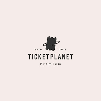 Ticket planet logo vector icon illustration