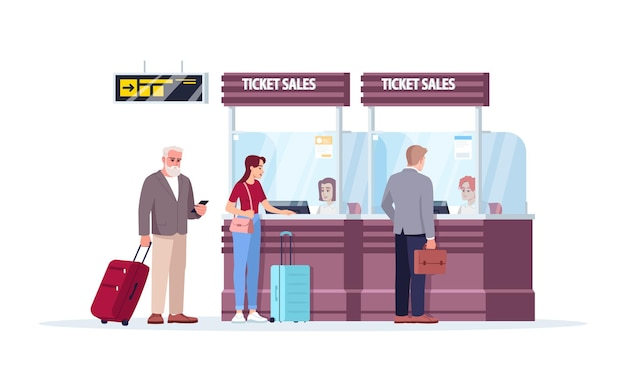 Ticket sales counter semi flat rgb color vector illustration. airport terminal sell boarding passes. people on queue to reception desk. tourists isolated cartoon character on white background