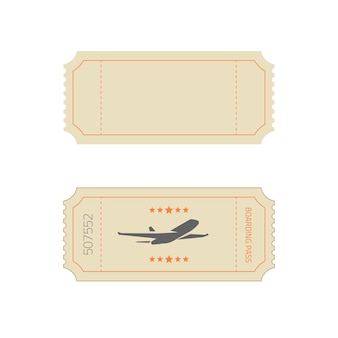 Ticket template in vintage old retro style as blank empty vector and boarding pass example