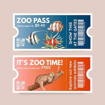 Ticket template with biodiversity as natural wildlife species or fauna protection
