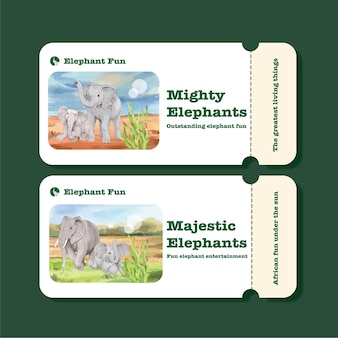 Ticket template with elephant funning concept,watercolor style Premium Vector