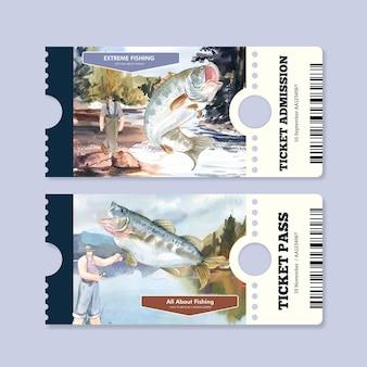 Шаблон билета с концепцией рыболовного лагеря, акварель в стиле