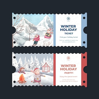 Ticket template with happy winter in watercolor style