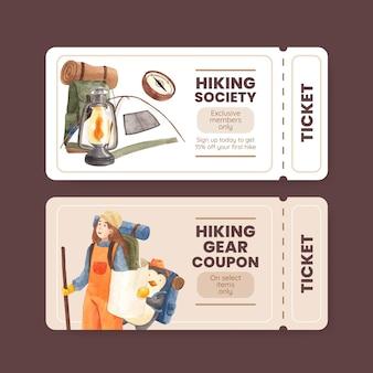 Шаблон билета с пешим туризмом в акварельном стиле