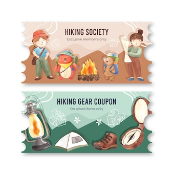 Ticket template with hiking in watercolor style