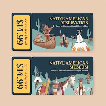 수채화 스타일의 아메리카 원주민이 있는 티켓 템플릿