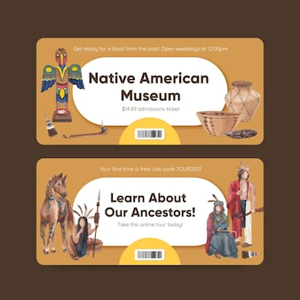Ticket template with native american in watercolor style