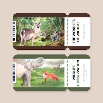 수채화 스타일의 세계 동물의 날 개념 티켓 템플릿