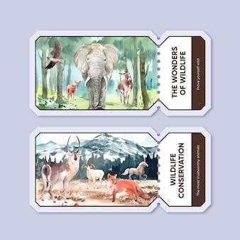 Шаблон билета с концепцией всемирного дня животных в стиле акварели