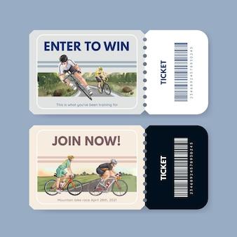 Шаблон билета с концепцией всемирного дня велосипеда, акварель в стиле