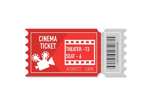 Ticket with shadow isolated isolated on white background