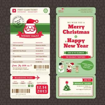 Рождественская открытка в посадочном талоне ticket шаблон стиля