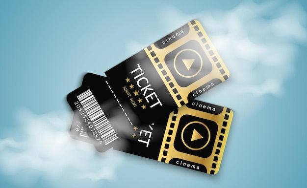 Tickets for attending an event or film on a transparent background beautiful modern travel flyers