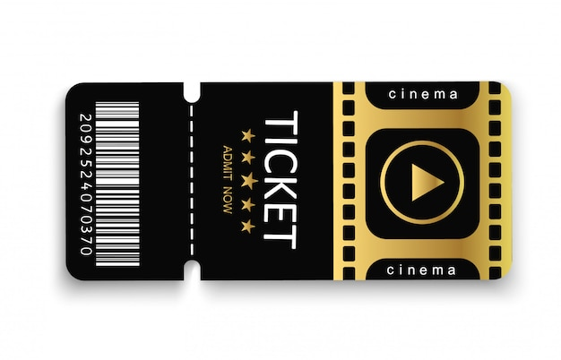 Tickets for attending an event or film on a transparent background.