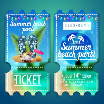 Tickets to a beach party with a beautiful summer landscape