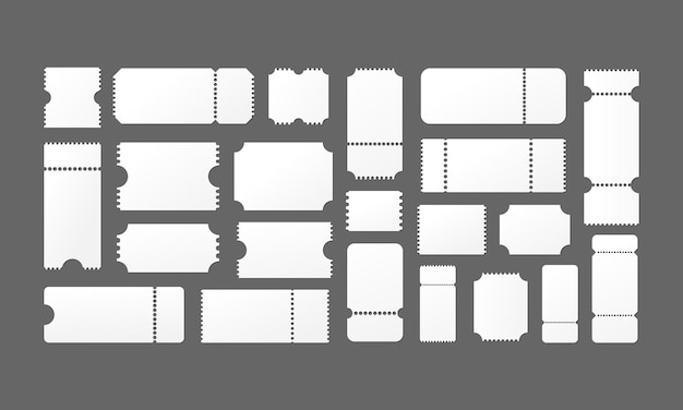 Tickets empty blank set. cinema or theater or sporting event tickets. vector eps 10