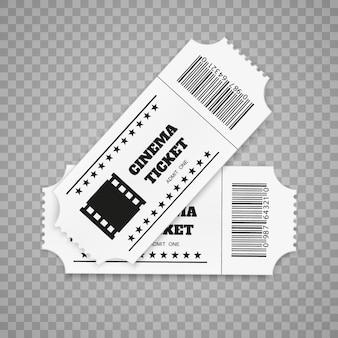 흰색 배경에 고립 된 티켓입니다. 현실적인 전면보기. 영화 표.