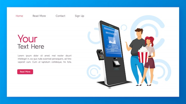 Tickets kiosk landing page vector template. cinema self service machine website with flat illustrations. website design