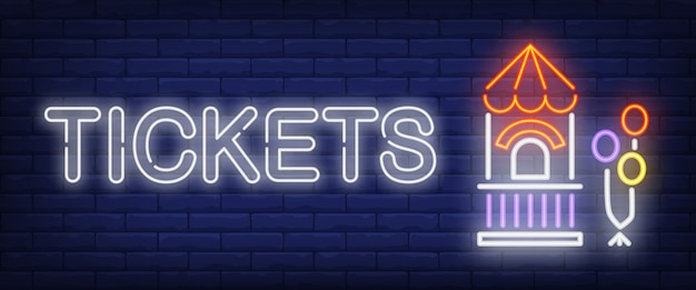 Tickets neon text with booth