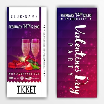 The tickets for the party on valentine's day