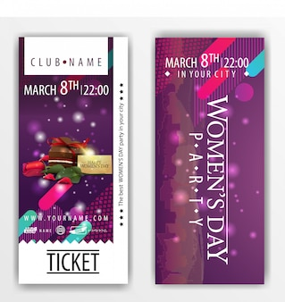 The tickets for the party on women's day with candy and rose