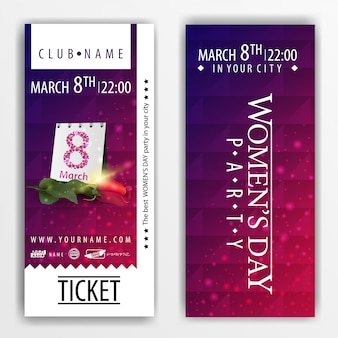 The tickets for the party on women's day with rose