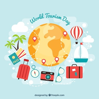 Tickets and passport ready for world tourism day