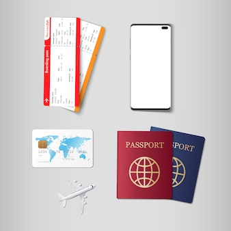 Tickets and passport for travel