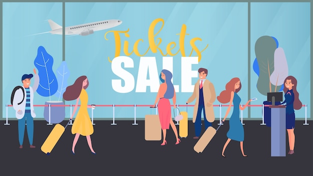 Tickets sale banner. airport, flight check-in, people at the airport. people with baggage. check in.  banner. Premium Vector