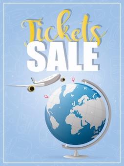 Продажа билетов. голубое знамя. самолет летит из точки а в точку б. синий глобус. подходит для продажи авиабилетов.