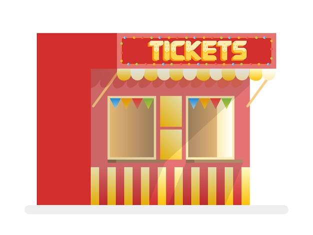 チケット販売の赤いキオスク。漫画のベクトルイラスト。