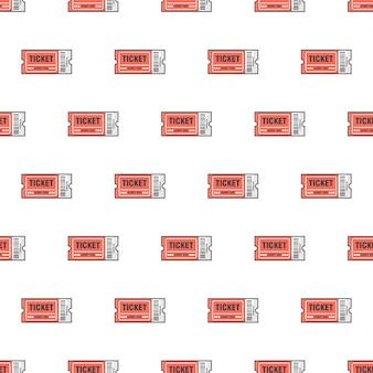 흰색 배경에 티켓 원활한 패턴입니다. 티켓 이벤트 테마 벡터 일러스트 레이 션