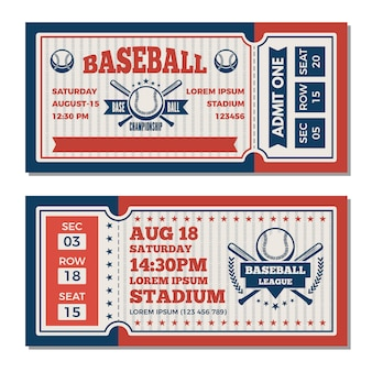 Tickets template at baseball tournament