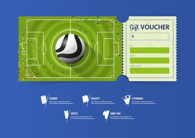 サッカーまたはサッカーの試合のためのチケットテンプレートデザイン
