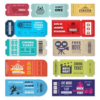 Шаблон билетов. входные билеты на мероприятия в кинотеатр цирк шоу шоу концерт концерт
