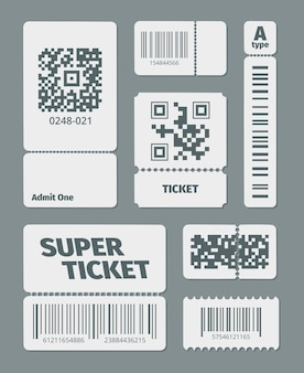 Tickets with barcode qr code set. documents standard barcode and latest qr identification laser scanning symbol sticker for retail goods, modern data tracking.